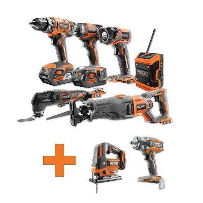 18-Volt Lithium-Ion Cordless Combo Kit (6-Tool) (2) 4Ah Batt and Charger w/Bonus Brushless Jig Saw and Impact Wrench