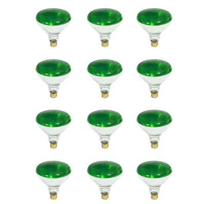 100-Watt PAR38 Dimmable Green Color Incandescent Light Bulb (12-Pack)