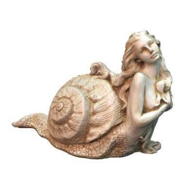 12 in. Antique White Psamathe Sexy Sea Snail Mermaid in Her Exotic Shell Nautical Beach Statue