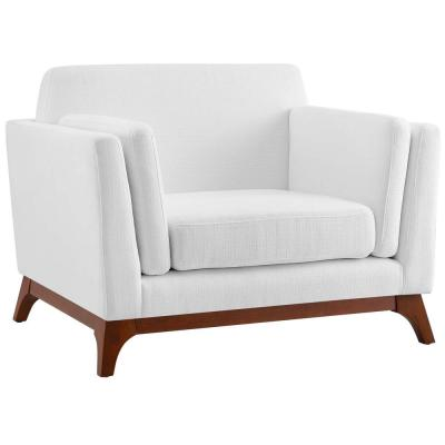 Chance White Upholstered Fabric Armchair