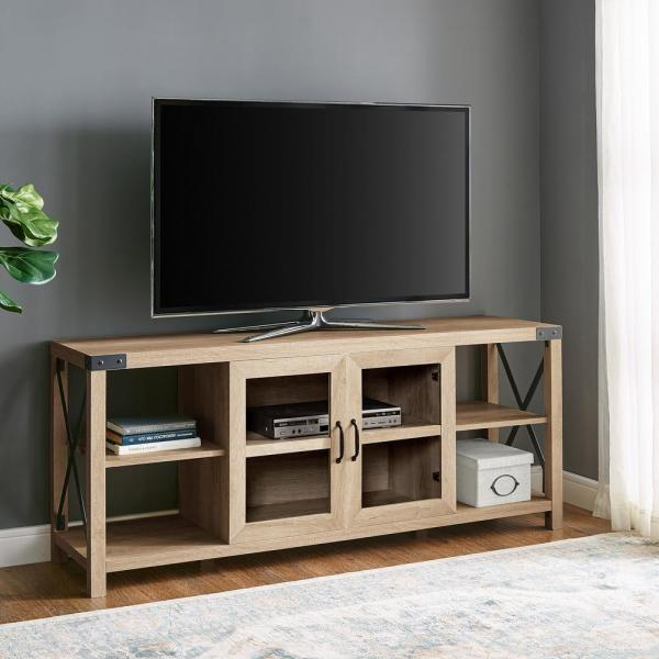 60 in. White Oak Composite TV Stand Fits TVs Up to 68 in. with Storage Doors
