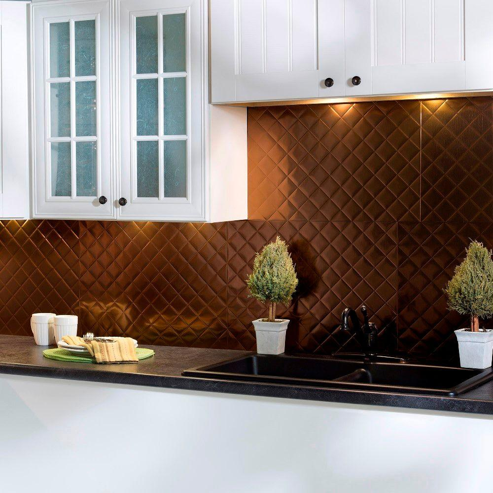 Quilted Pvc Decorative Backsplash Panel In Oil Rubbed