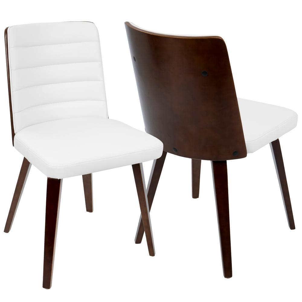 Lumisource Francesca Cherry Wood And White Accent Chair