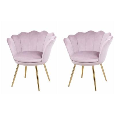 Pink Velvet Wingback Chair Modern Leisure Shell Accent Chair with Gold Metal Legs (Set of 2)
