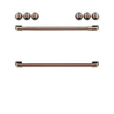 Front Control Electric Range Handle and Knob Kit in Brushed Copper
