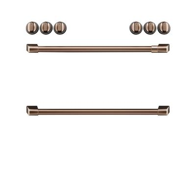 Front Control Induction Range Handle and Knob Kit in Brushed Copper