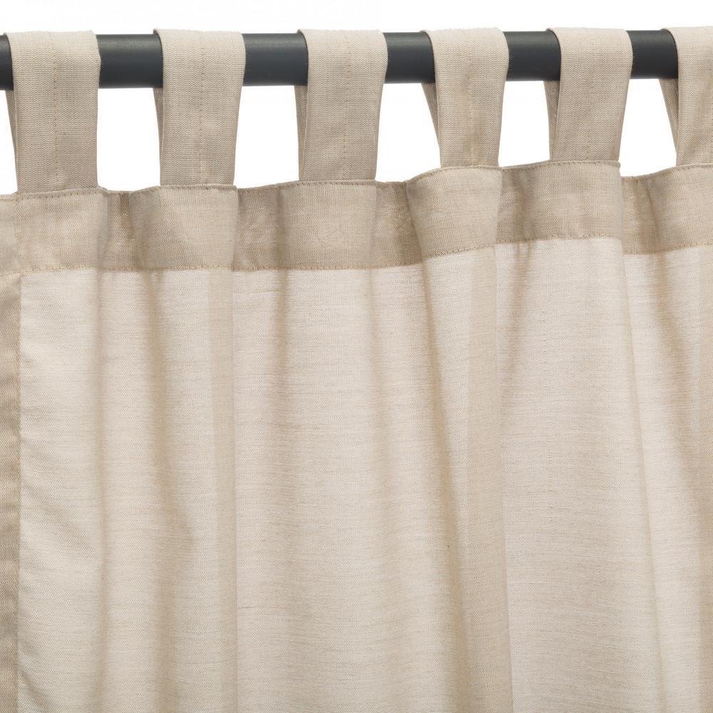 50 in. x 84 in. Outdoor Single Curtain with Tabs in Sheer Wren