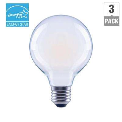 60-Watt Equivalent G25 Dimmable Frosted Filament LED Light Bulb, Soft White (3-Pack)