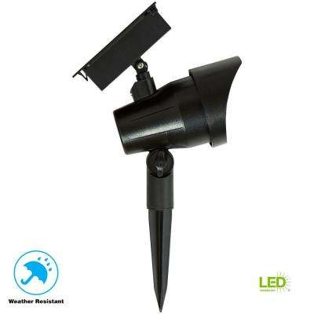 Solar Black Outdoor Integrated LED 3000K 30-Lumens Landscape Spot Light
