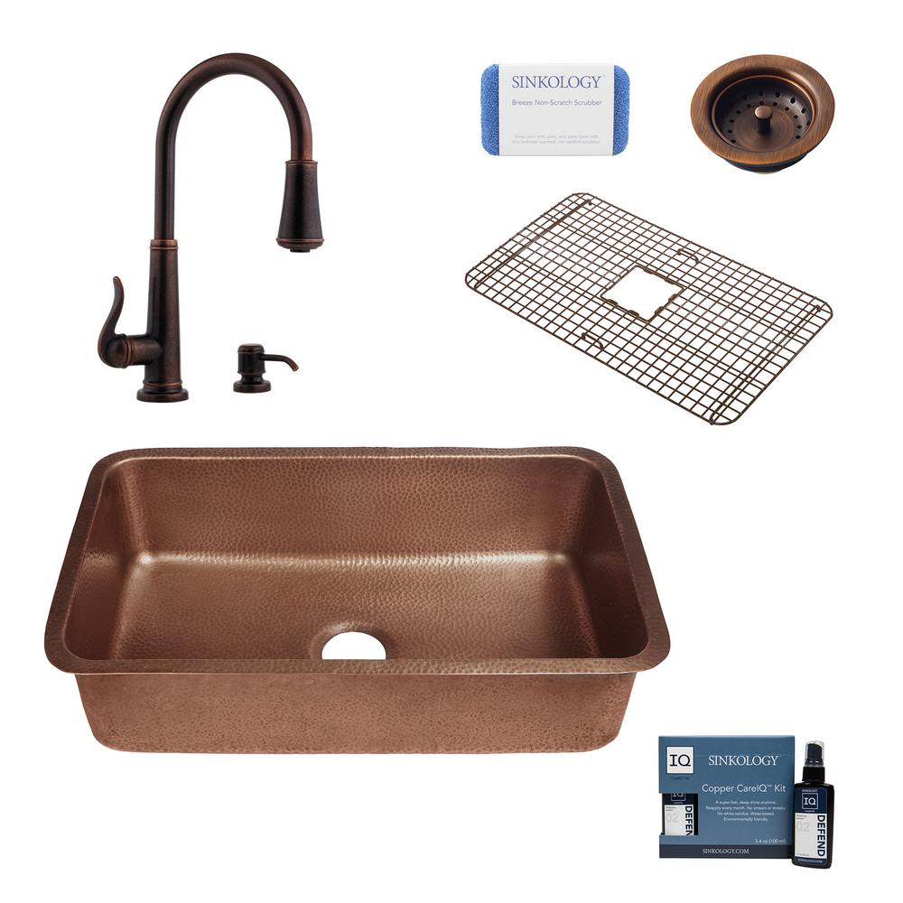 SINKOLOGY Orwell All-in-One Undermount Copper 30 in. Single Bowl Kitchen Sink with Pfister Ashfield Bronze Faucet and Strainer