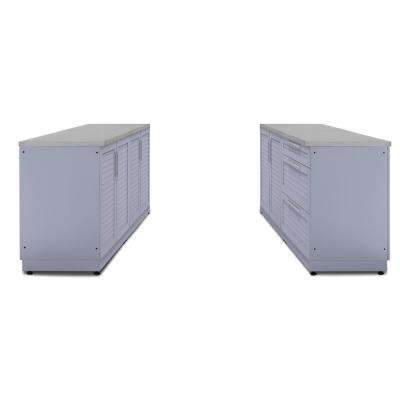 Coastal Gray 6-Piece 64 in. W x 36.5 in. H x 24 in. D Outdoor Kitchen Cabinet Set with Countertops