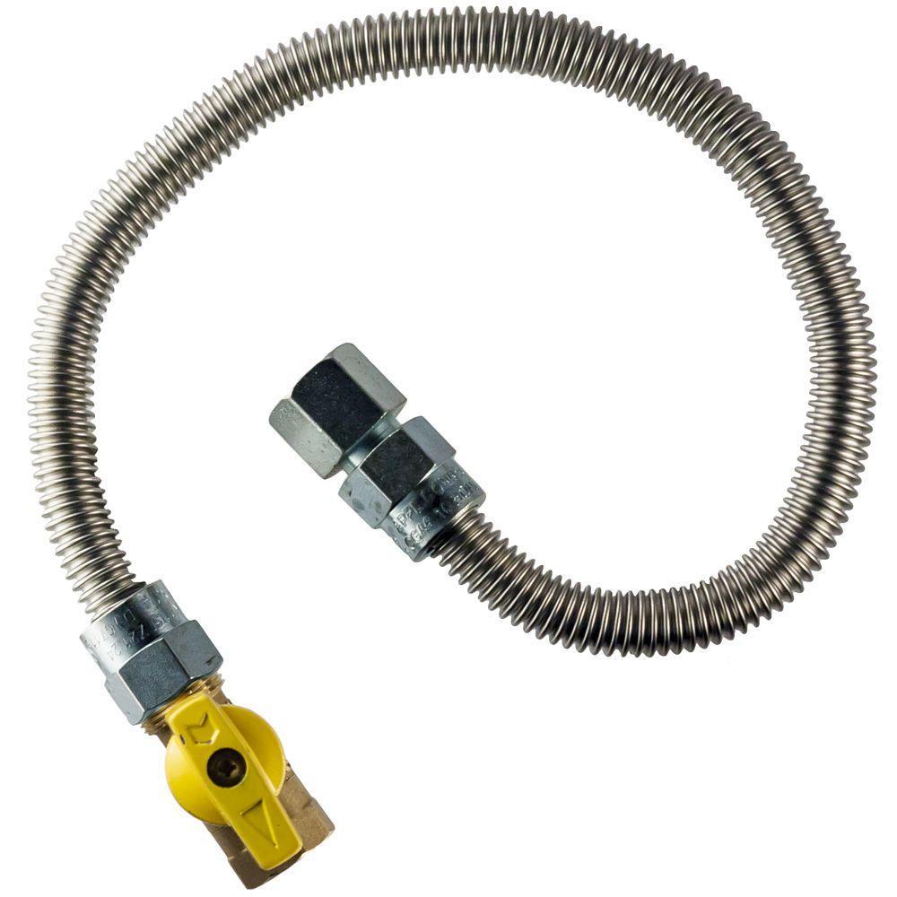 HOME-FLEX 3/8 in. FIP x 1/2 in. FIP Gas Valve x 48 in. Heater Connector 3/8 in O.D.