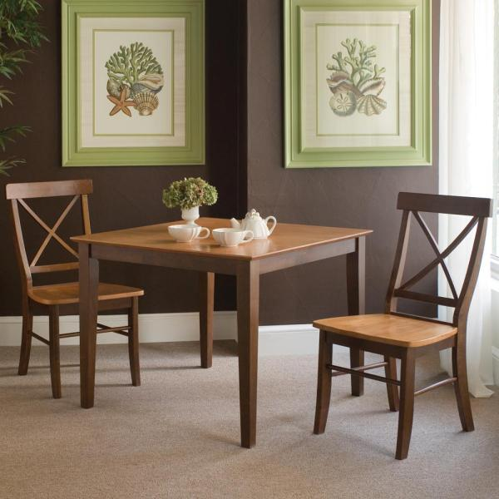 International Concepts Cinnamon & Espresso Wood X Back Dining Chair (Set