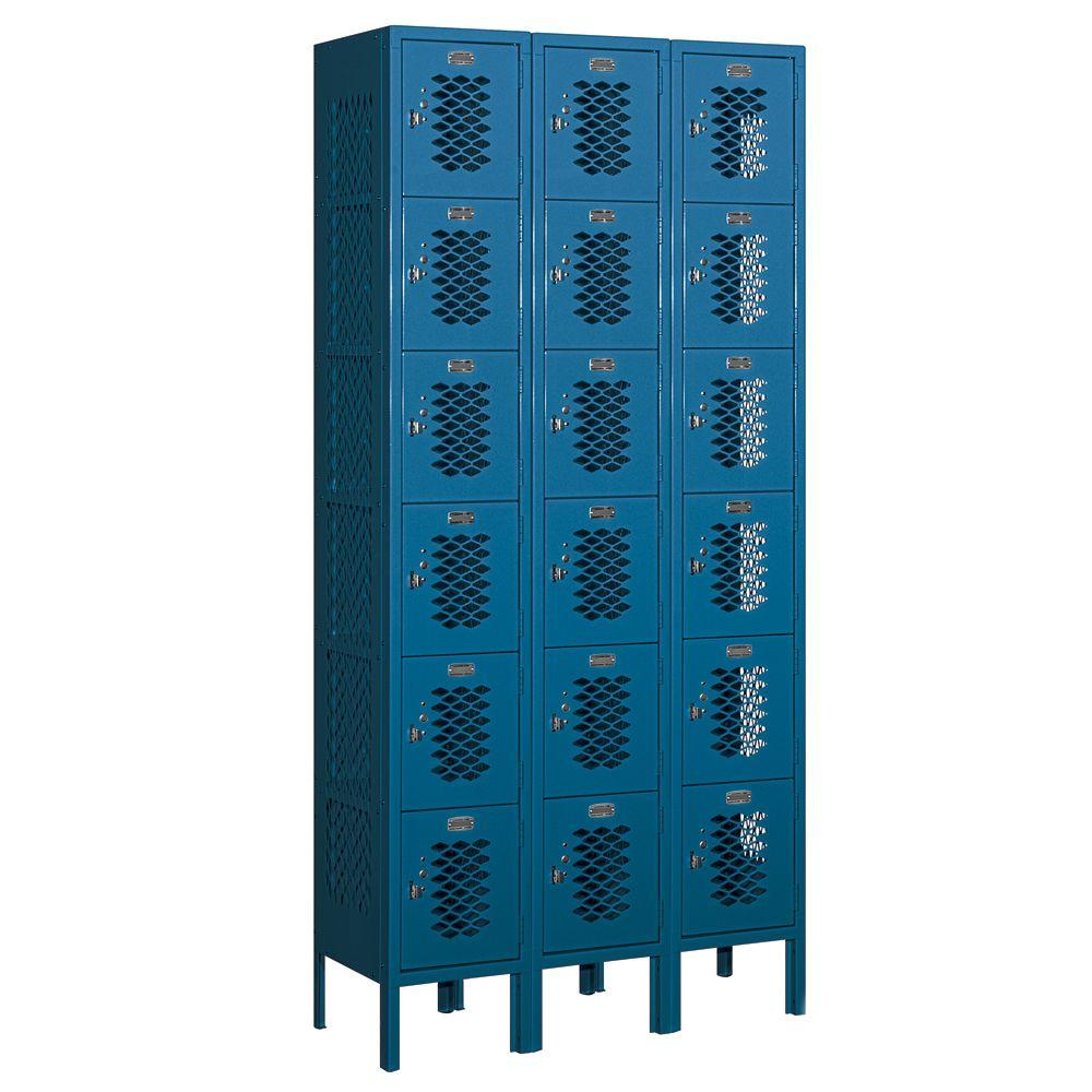 Salsbury Industries 76000 Series 36 in. W x 78 in. H x 12 in. D Six Tier Box Style Vented Metal Locker Assembled in Blue