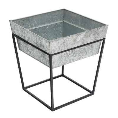 17.5 in. Tall Black Powder Coat Small Indoor Outdoor Arne Metal Plant Stand with Deep Galvanized Tray