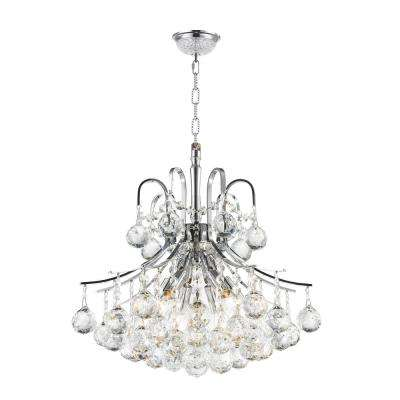 Empire Collection 6-Light Polished Chrome and Clear Crystal Chandelier