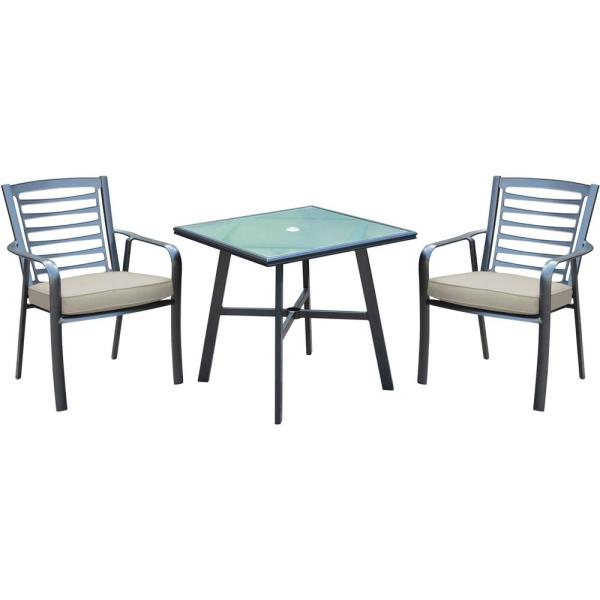 Pemberton 3-Piece Commercial-Grade Aluminum Outdoor Bistro Set with Ash Cushions, 2-Dining Chairs and Glass-Top Table