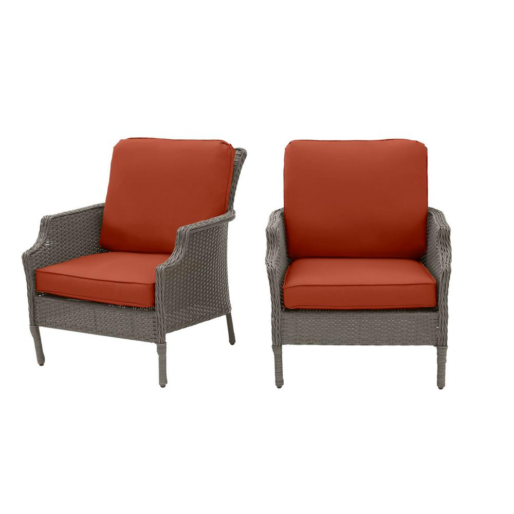 Hampton Bay Grayson Ash Gray Wicker Outdoor Patio Lounge with CushionGuard Quarry Red Cushions (2-Pack) was $299.0 now $239.2 (20.0% off)