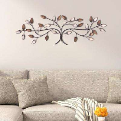Tree Branch with Leaves Gold and Silver Metal Work