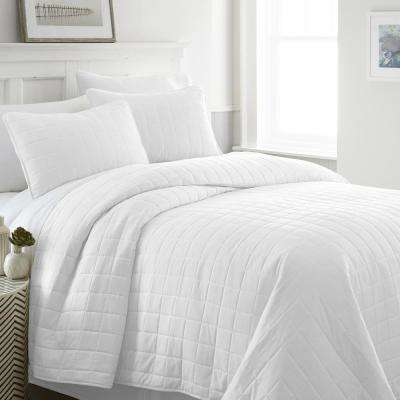 Square White Twin Performance Quilted Coverlet Set