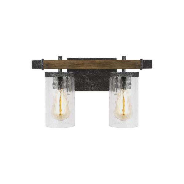 Angelo 2-Light Distressed Weathered Oak and Slate Grey Metal Vanity Light with Clear Thick Wavy Glass Shades