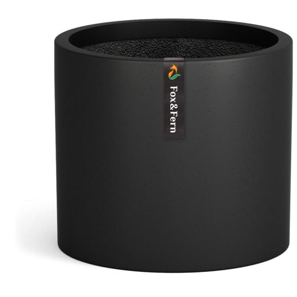 Modern 12 in. Stone Black Fiberstone Planter with Drainage (Fits Plant Stand)