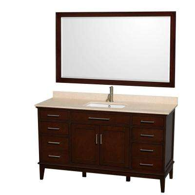 Hatton 60 in. Vanity in Dark Chestnut with Marble Vanity Top in Ivory, Square Sink and 56 in. Mirror