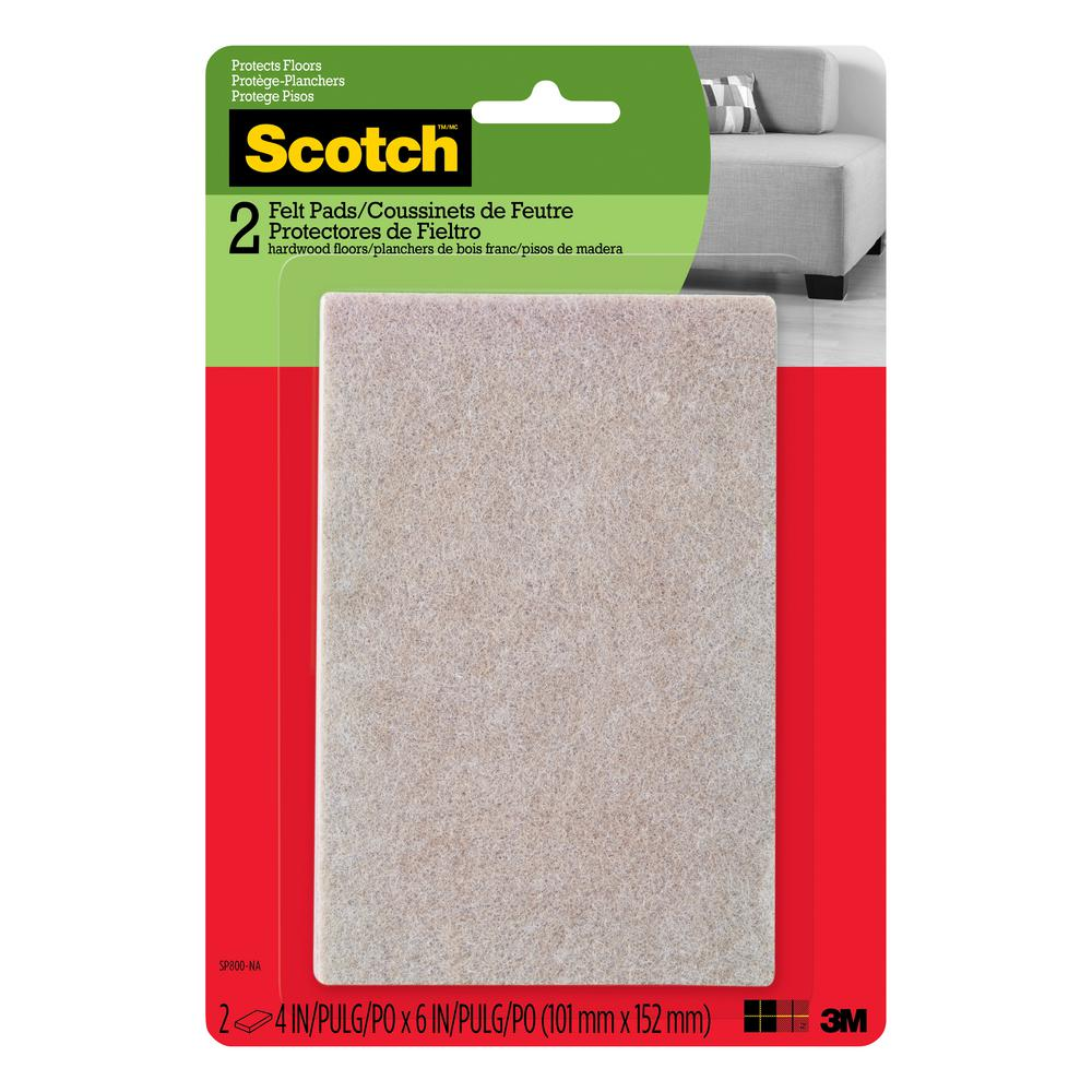 Scotch 4 in. x 6 in. Beige Rectangle Surface Protection Felt