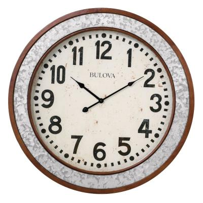 Cherry Wood Round 24 in. Wall Clock
