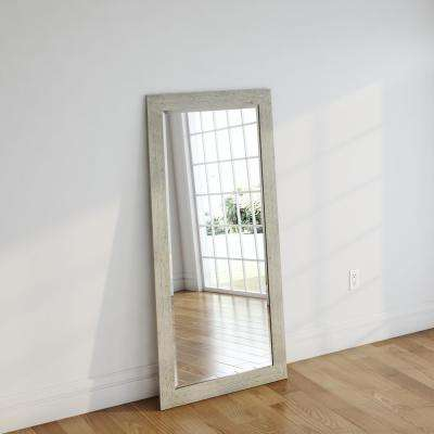 32 in. x 65.5 in. White Washed Antique Beveled Full Body Mirror