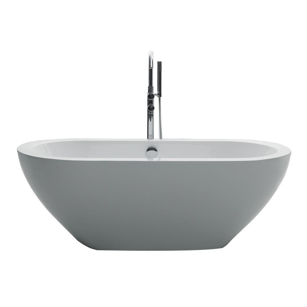 Eviva bella 67 in acrylic flatbottom bathtub in white for Best acrylic bathtubs