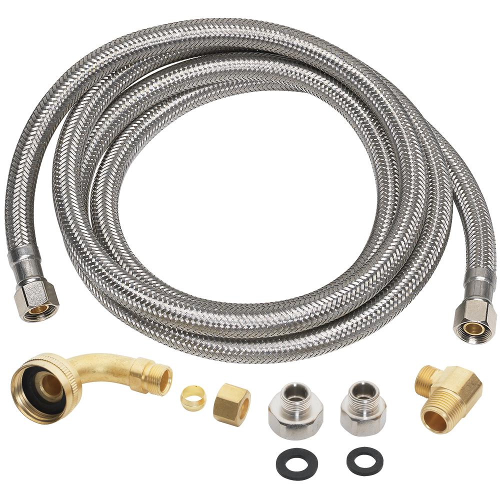Everbilt 3/8 in. x 3/8 in. x 60 in. Stainless Steel Universal Dishwasher Supply Line