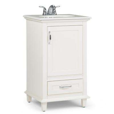 Homer 20 in. Bath Vanity in Pure White with Engineered Quartz Marble Vanity Top in Bombay White with White Basin
