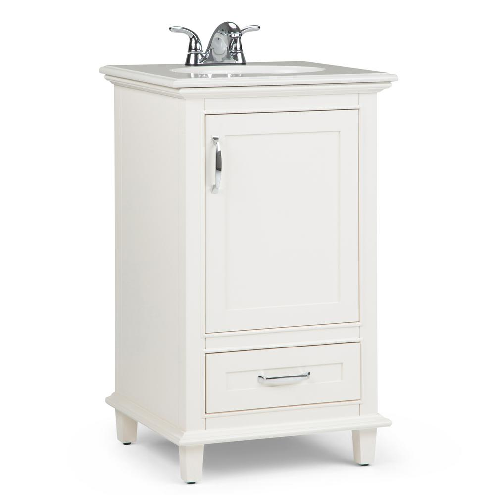Simpli Home Ariana 20 in. W x 19 in. D Bath Vanity in Soft White with Quartz Marble Vanity Top in Bombay White with White Basin