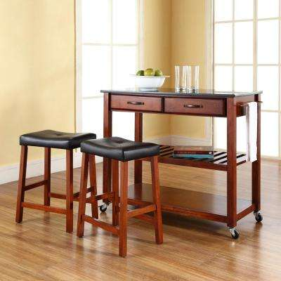 Cherry Kitchen Cart With Black Granite Top