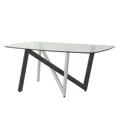 Hassel Silver, Gunmetal and Clear Glass Dining Table