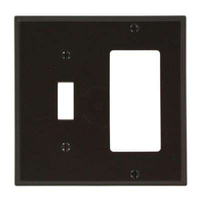 2-Gang Standard Size 1-Toggle 1-Decora Nylon Combination Wall Plate, Brown