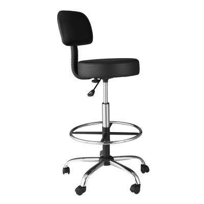 Black Medical and Drafting Stool with Back Cushion