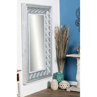 Rectangular Mettalic Gray Door/Wall Mirror with Rope-Like Patterns