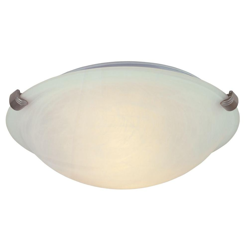 hampton bay 12 in. 2-light pewter flushmount with alabaster glass