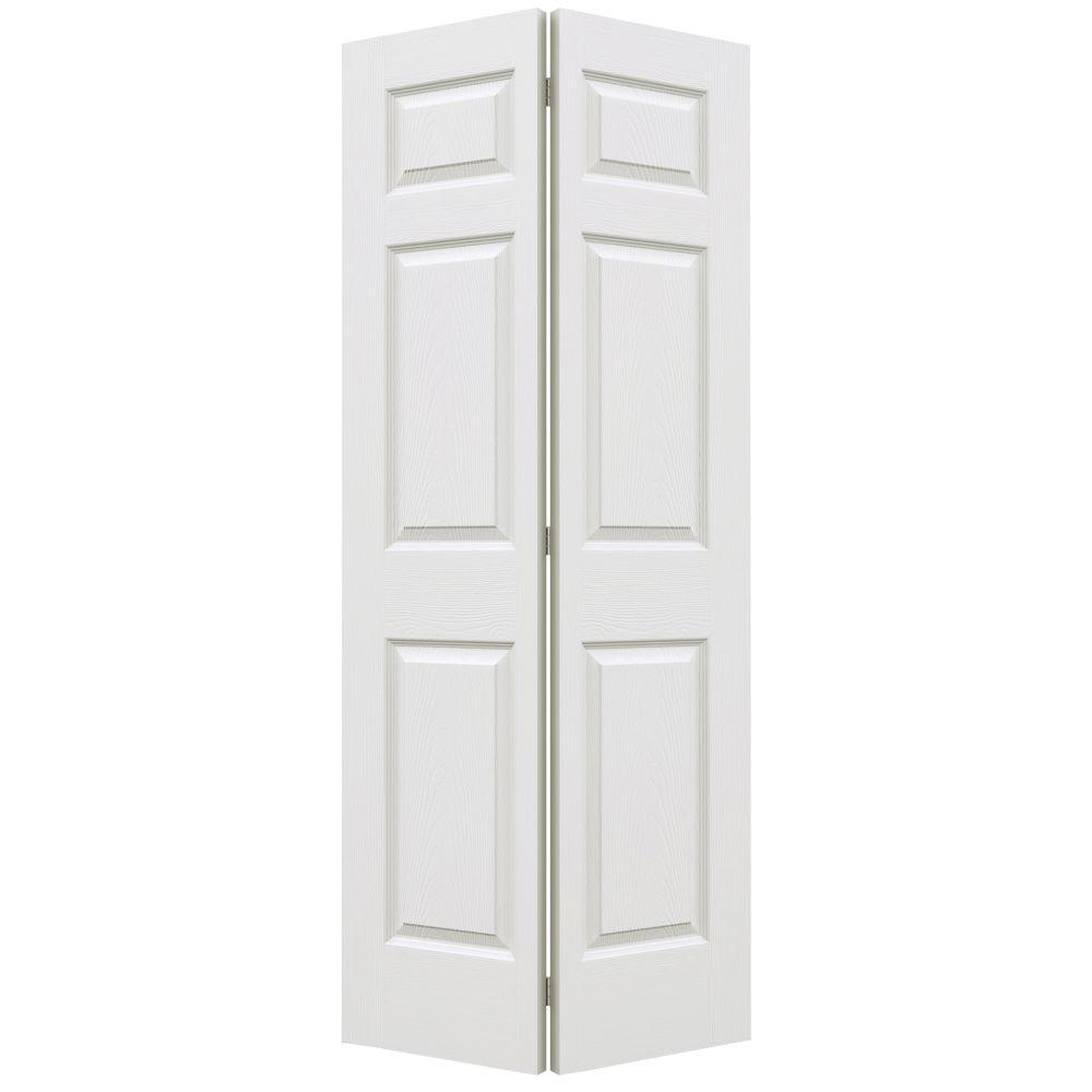 unbranded 36 in. x 80 in. Colonist Primed Textured Molded Composite MDF Closet Bi-Fold Door