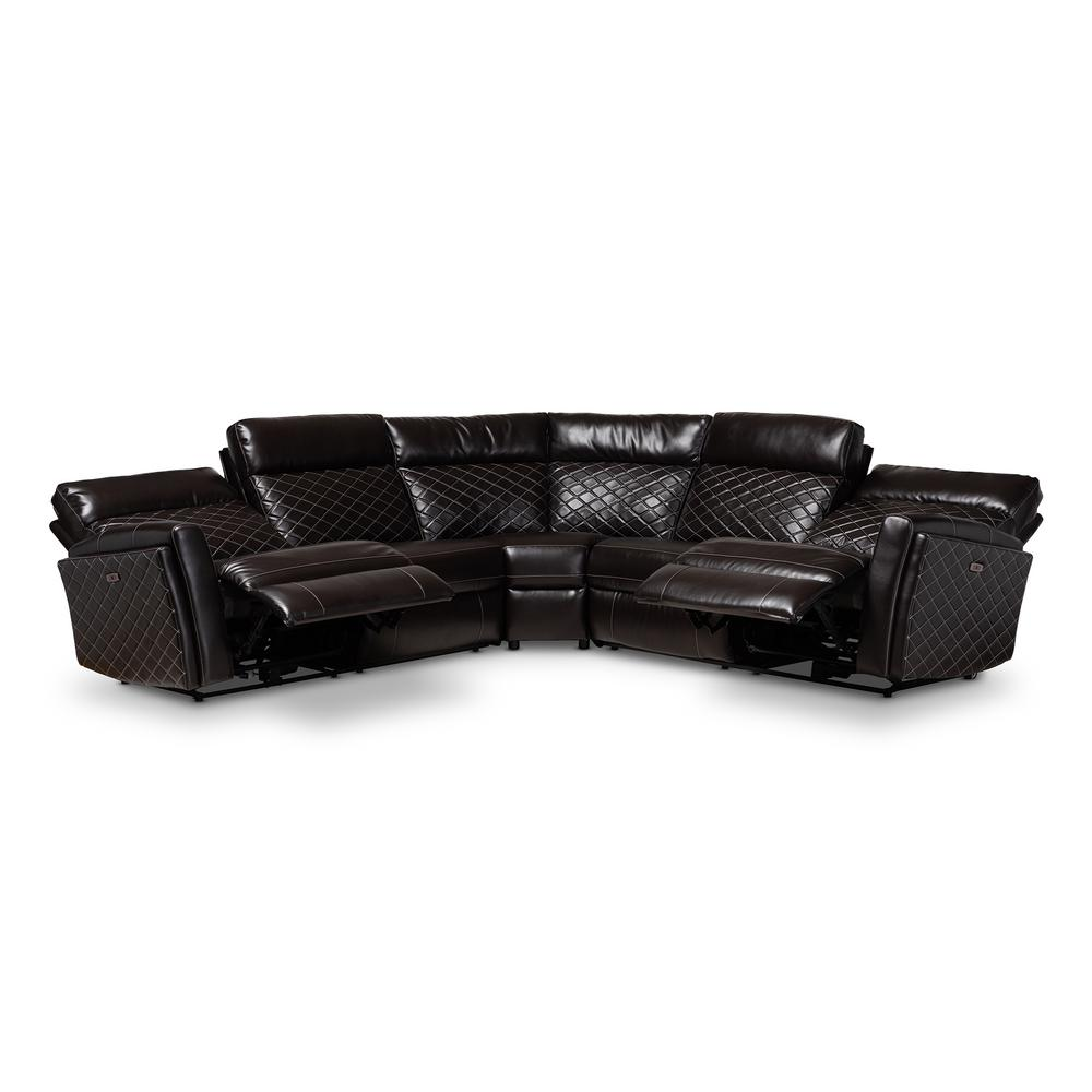 Alvar Charcoal Brown Faux Leather Sectional