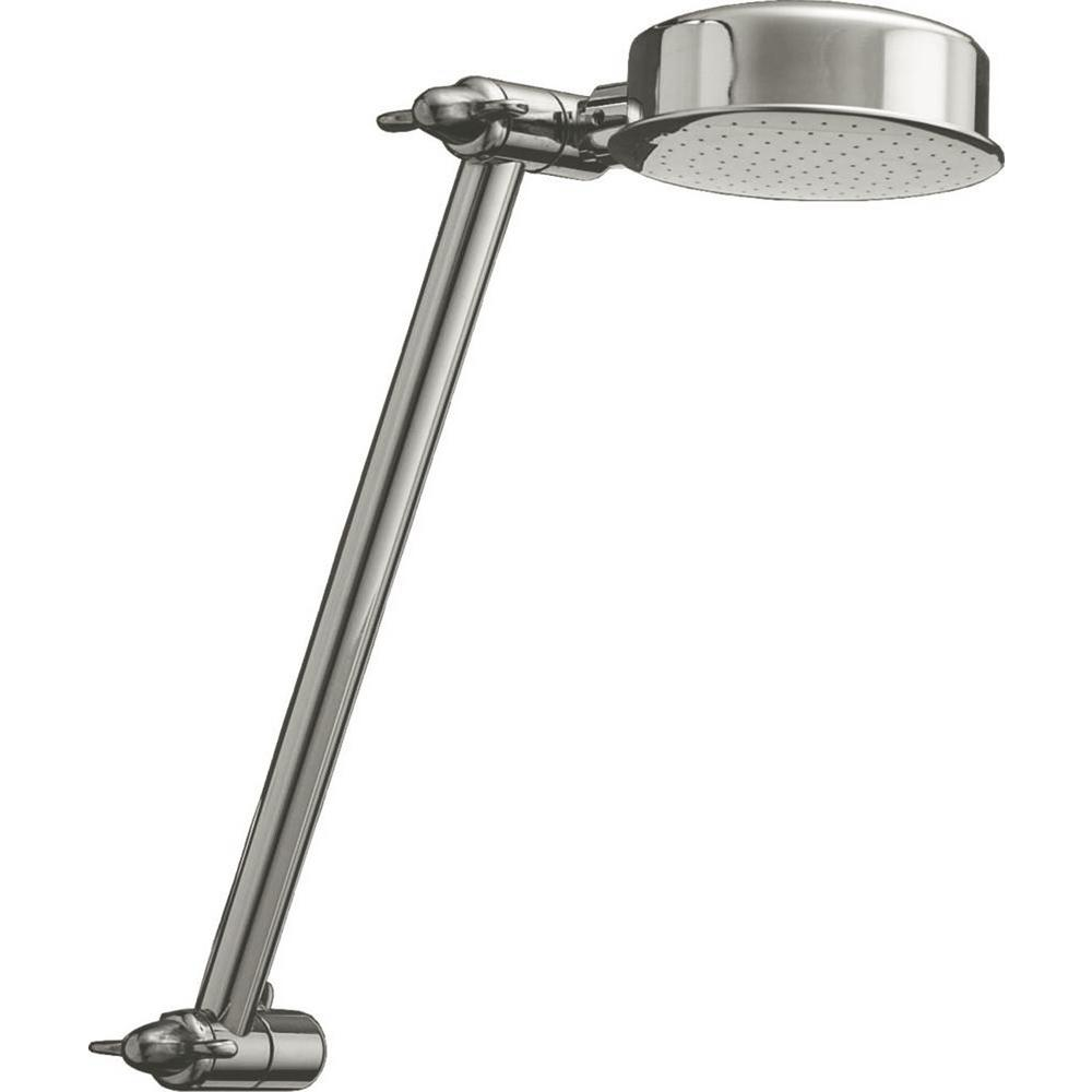 1-Spray 3.50 in. Fixed Shower Head with Adjustable Arm in Chrome
