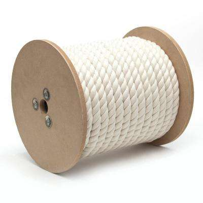 1/2 in. x 200 ft. Cotton Twisted Rope 3-Strand, Natural