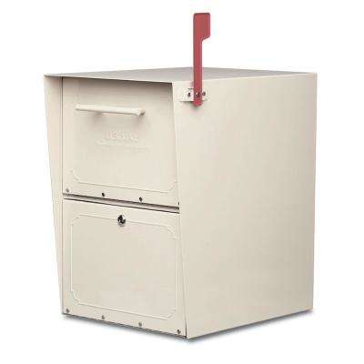 Oasis Post-Mount or Column-Mount Locking Mailbox in Sand with Outgoing Mail Indicator
