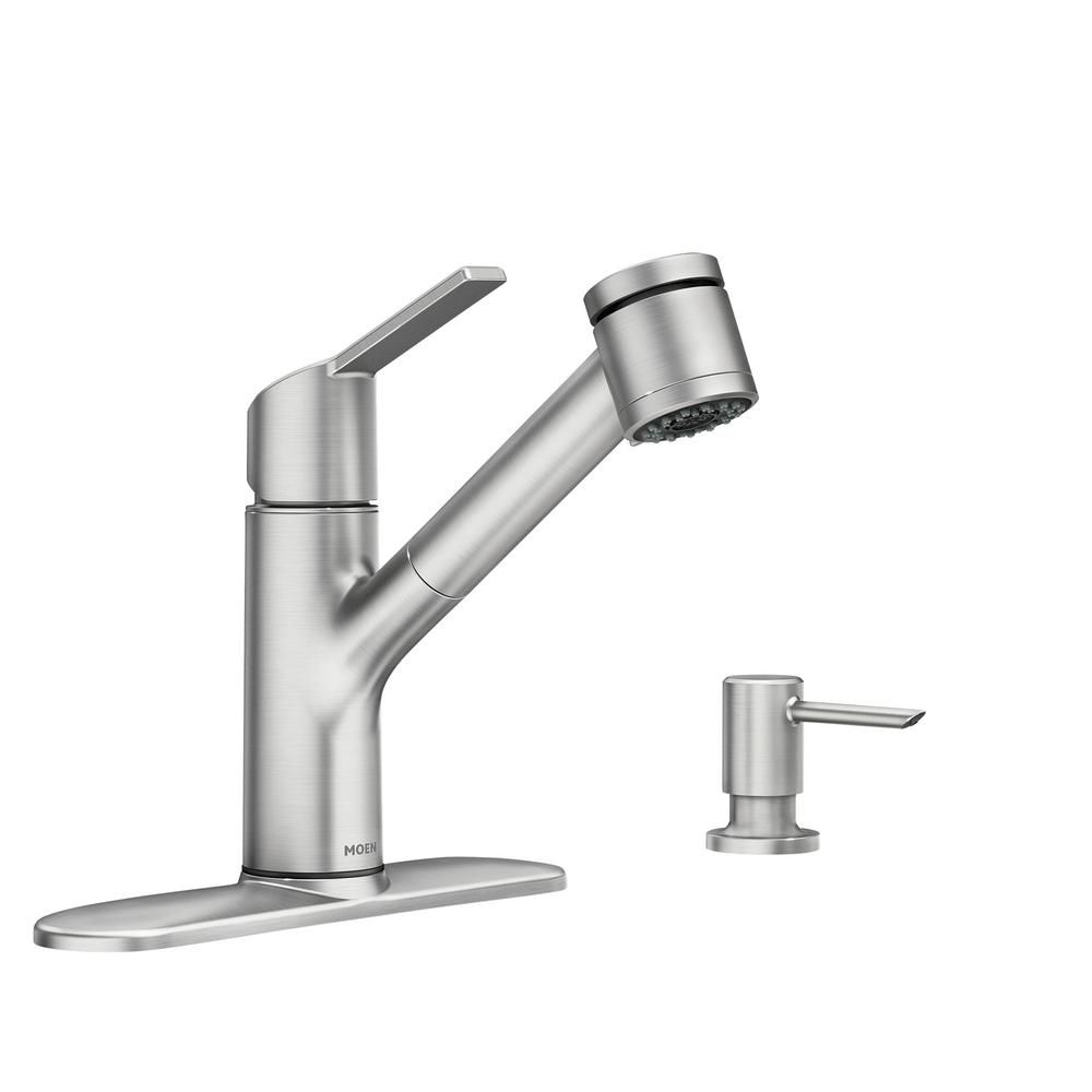 Moen Sombra Single Handle Pull Out Sprayer Kitchen Faucet With Power Clean In Spot Resist Stainless 87701srs The Home Depot