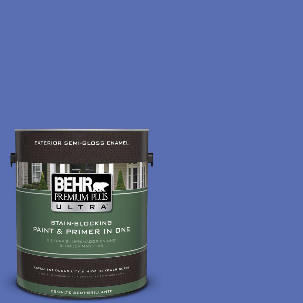 BEHR Premium Plus Ultra 1-gal. #PPU15-5 New Age Blue Semi-Gloss Enamel Exterior Paint
