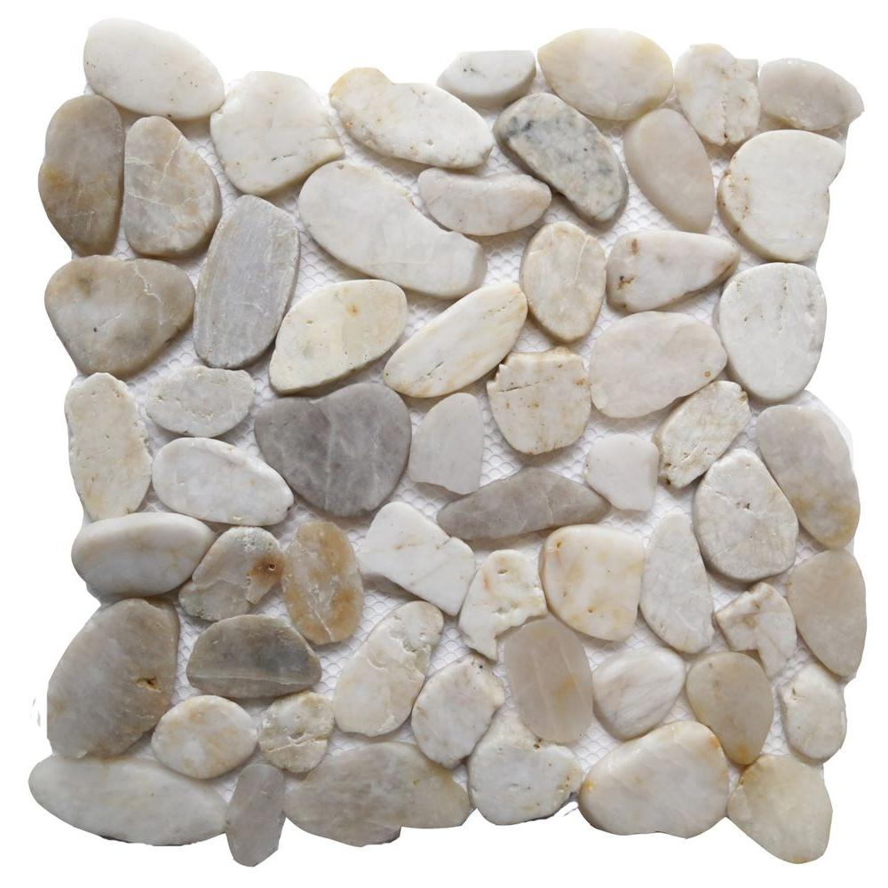 White Shell 12 in. x 12 in. Sliced Natural Pebble Stone