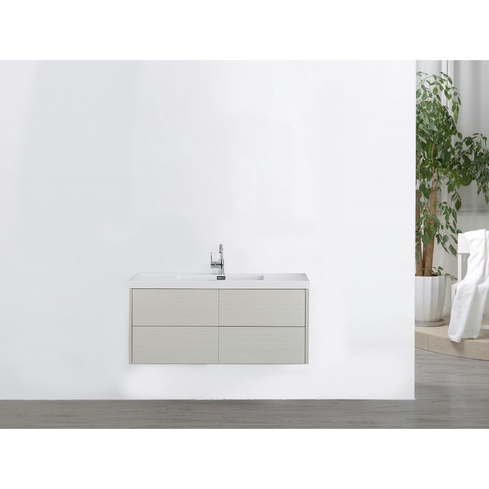 Streamline Vanity Gray Resin Vanity Top White Basin