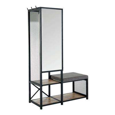 Everly Sand Black Hall Tree with Mirror